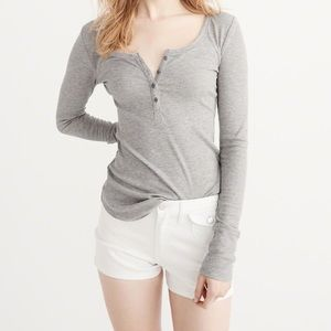 Abercrombie & Fitch Grey Henley Top